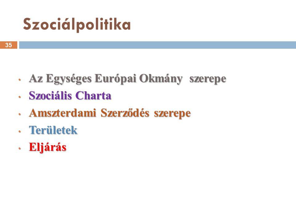 Szociálpolitika Az Egységes Európai Okmány szerepe Szociális Charta
