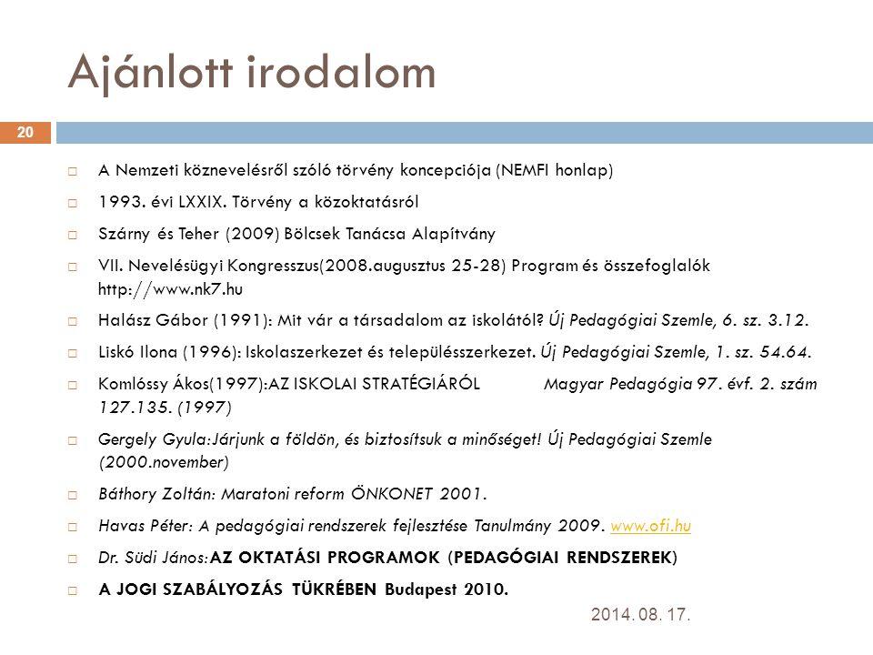 Ajánlott irodalom A Nemzeti köznevelésről szóló törvény koncepciója (NEMFI honlap) 1993. évi LXXIX. Törvény a közoktatásról.
