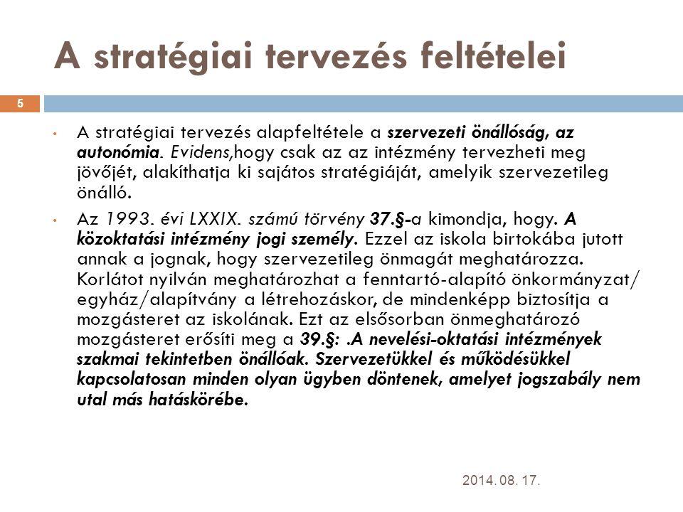 A stratégiai tervezés feltételei