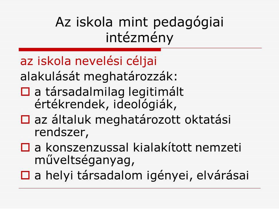 Az iskola mint pedagógiai intézmény