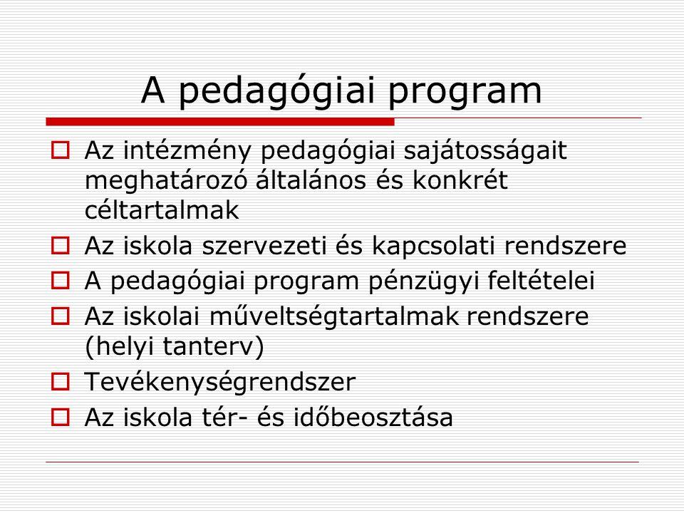 A pedagógiai program Az intézmény pedagógiai sajátosságait meghatározó általános és konkrét céltartalmak.
