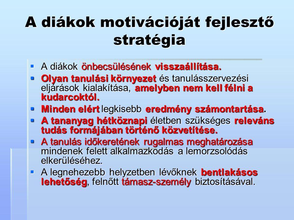 A diákok motivációját fejlesztő stratégia