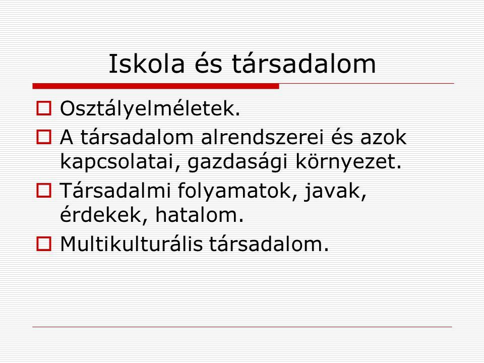 Iskola és társadalom Osztályelméletek.