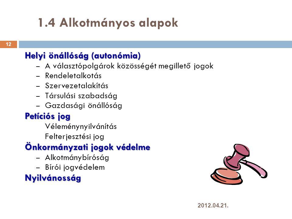 1.4 Alkotmányos alapok Helyi önállóság (autonómia) Petíciós jog