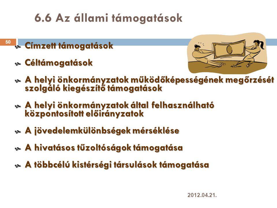 6.6 Az állami támogatások Címzett támogatások Céltámogatások