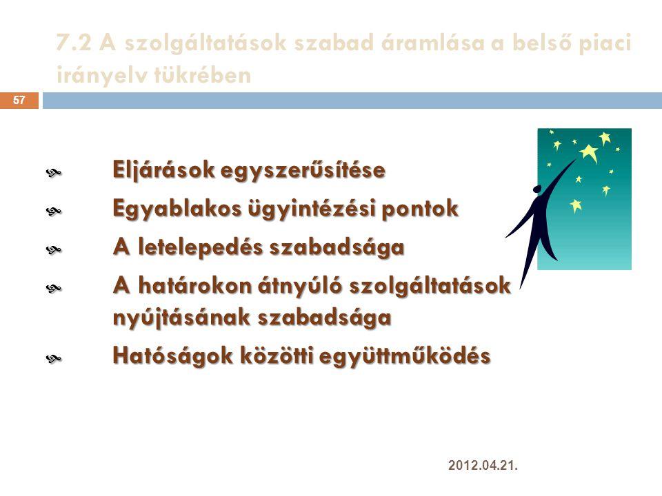 7.2 A szolgáltatások szabad áramlása a belső piaci irányelv tükrében
