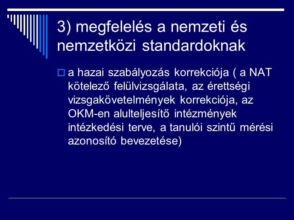 3) megfelelés a nemzeti és nemzetközi standardoknak