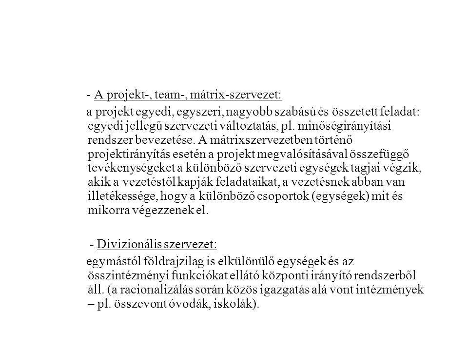 - A projekt-, team-, mátrix-szervezet: