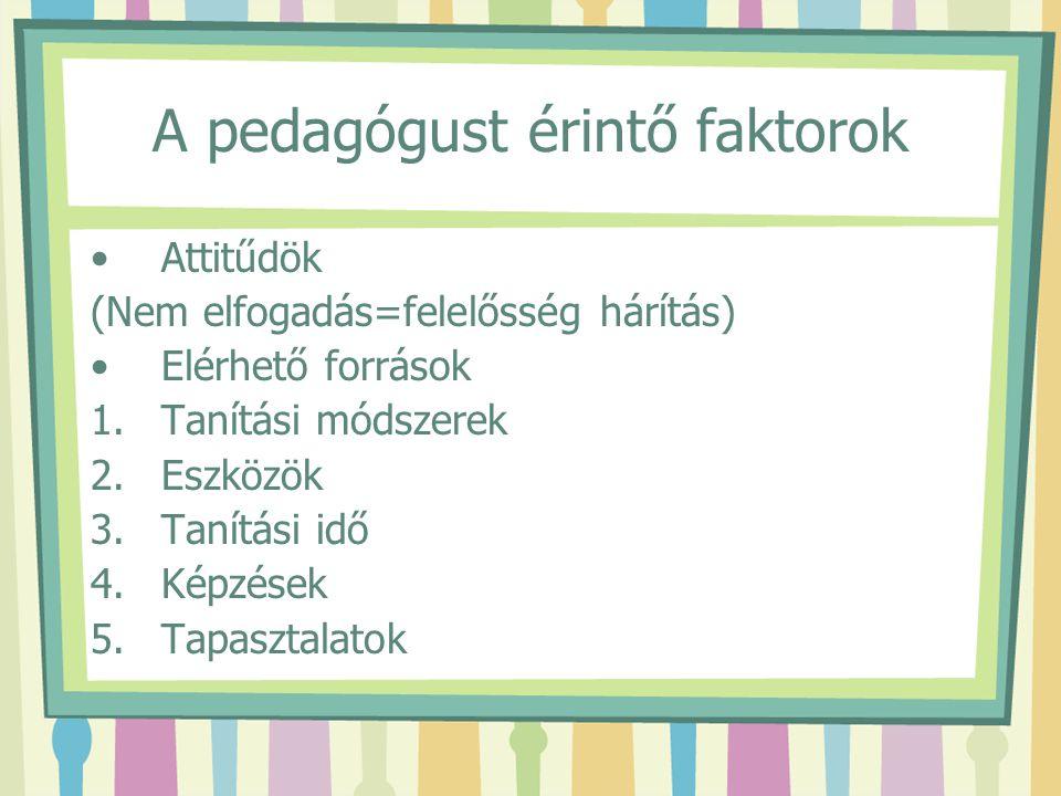 A pedagógust érintő faktorok
