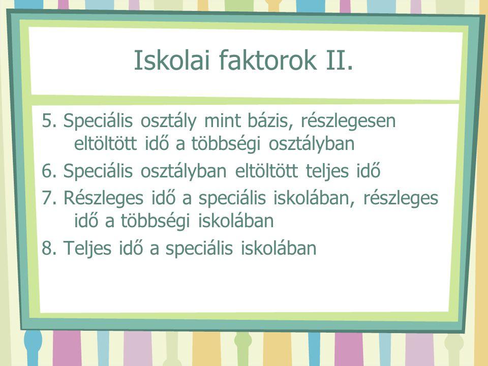 Iskolai faktorok II. 5. Speciális osztály mint bázis, részlegesen eltöltött idő a többségi osztályban.