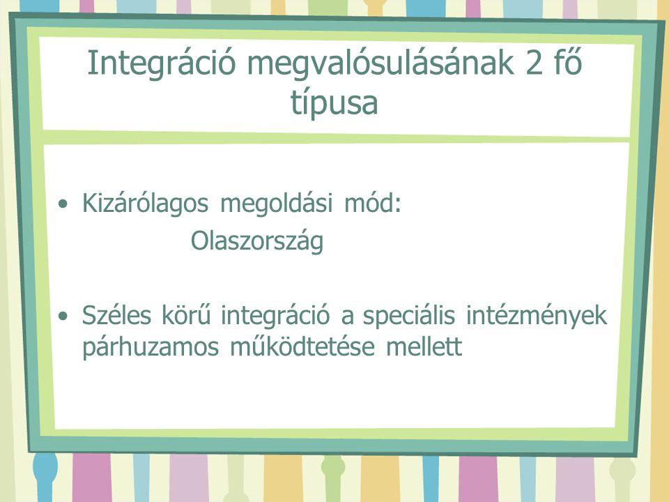 Integráció megvalósulásának 2 fő típusa