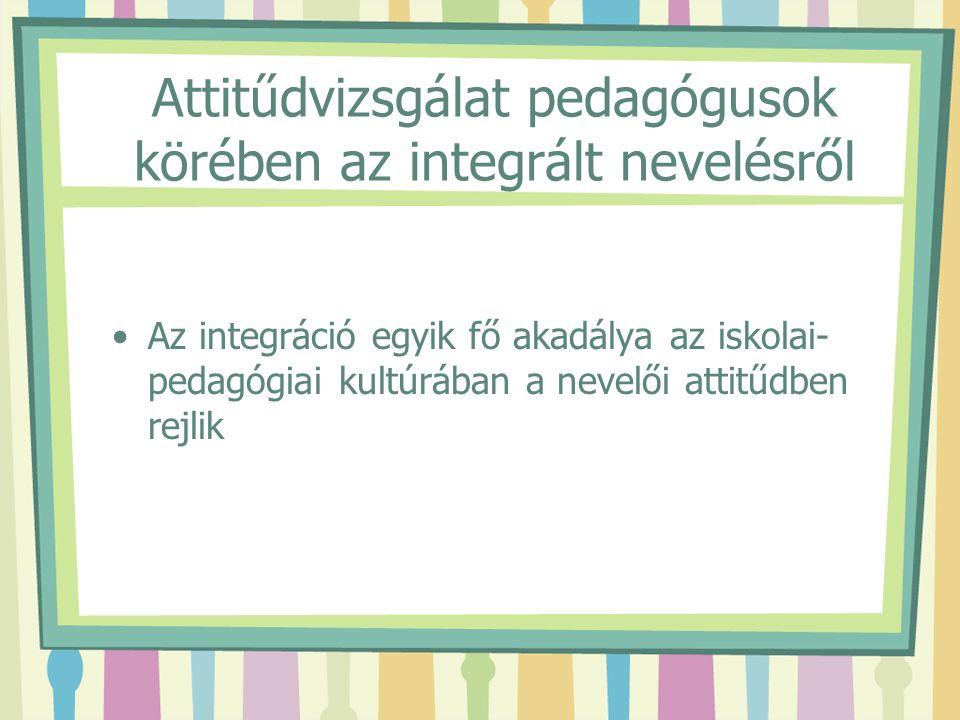 Attitűdvizsgálat pedagógusok körében az integrált nevelésről