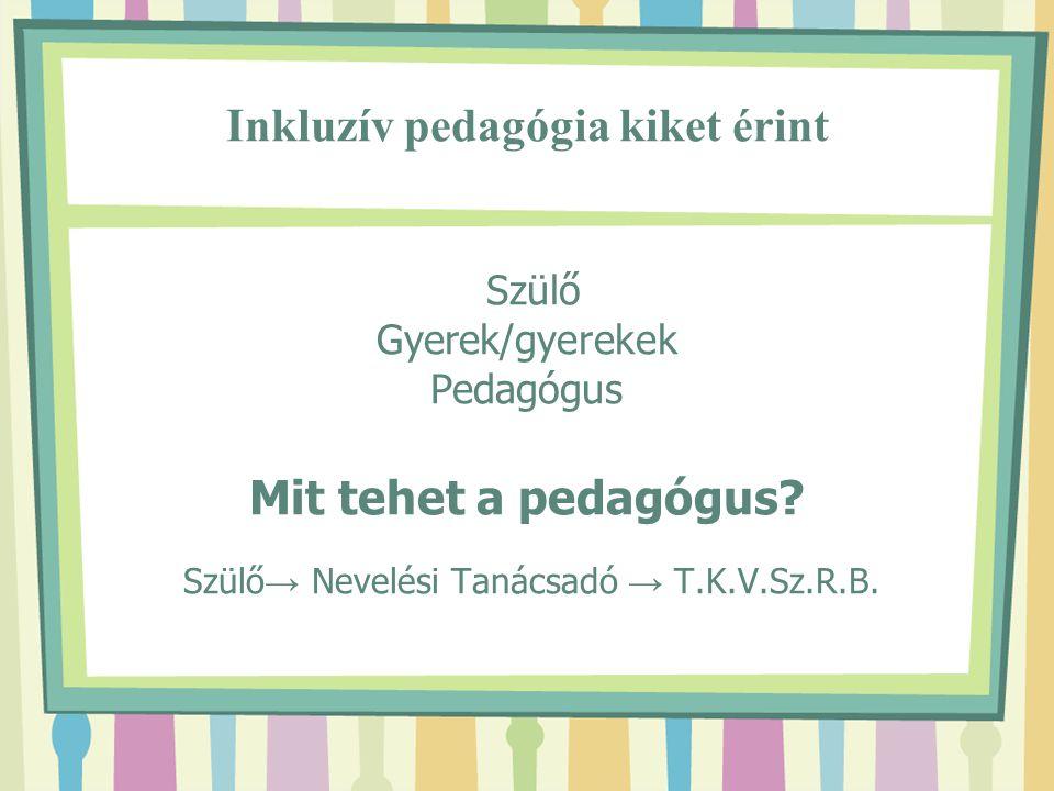Inkluzív pedagógia kiket érint Szülő Gyerek/gyerekek Pedagógus Mit tehet a pedagógus.
