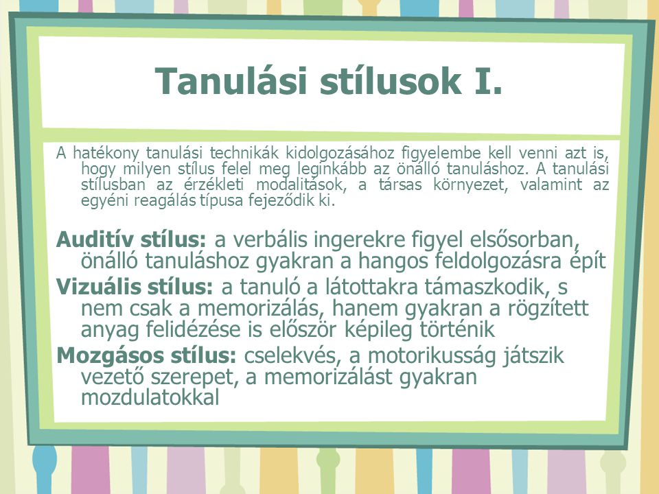 Tanulási stílusok I.