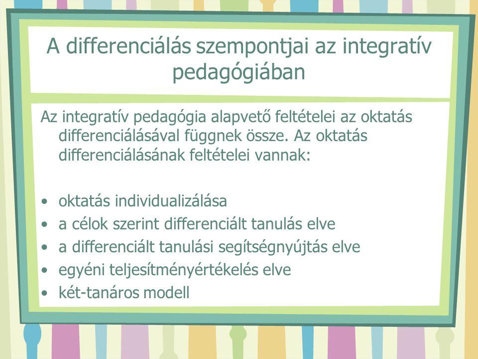 A differenciálás szempontjai az integratív pedagógiában