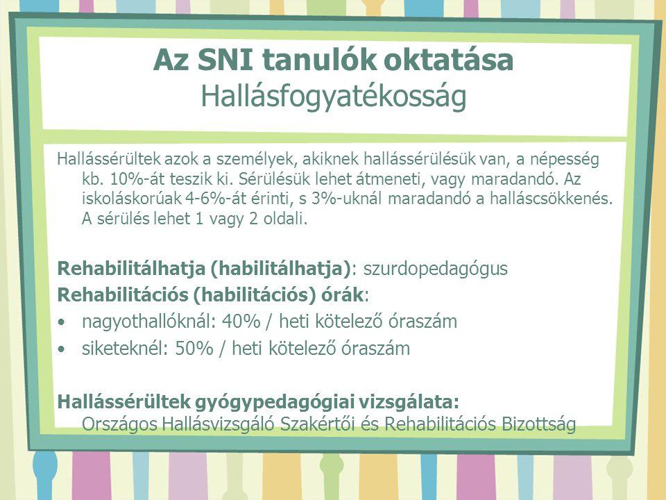 Az SNI tanulók oktatása Hallásfogyatékosság