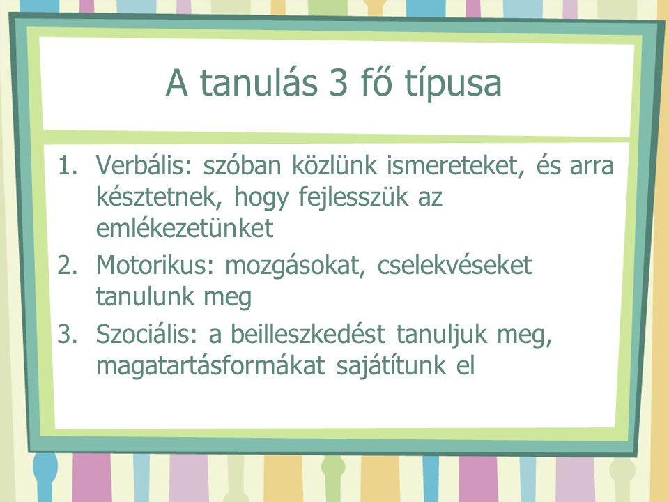 A tanulás 3 fő típusa Verbális: szóban közlünk ismereteket, és arra késztetnek, hogy fejlesszük az emlékezetünket.