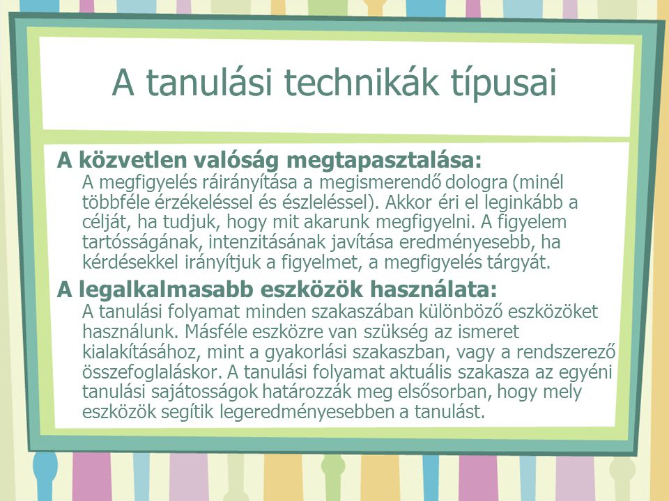 A tanulási technikák típusai