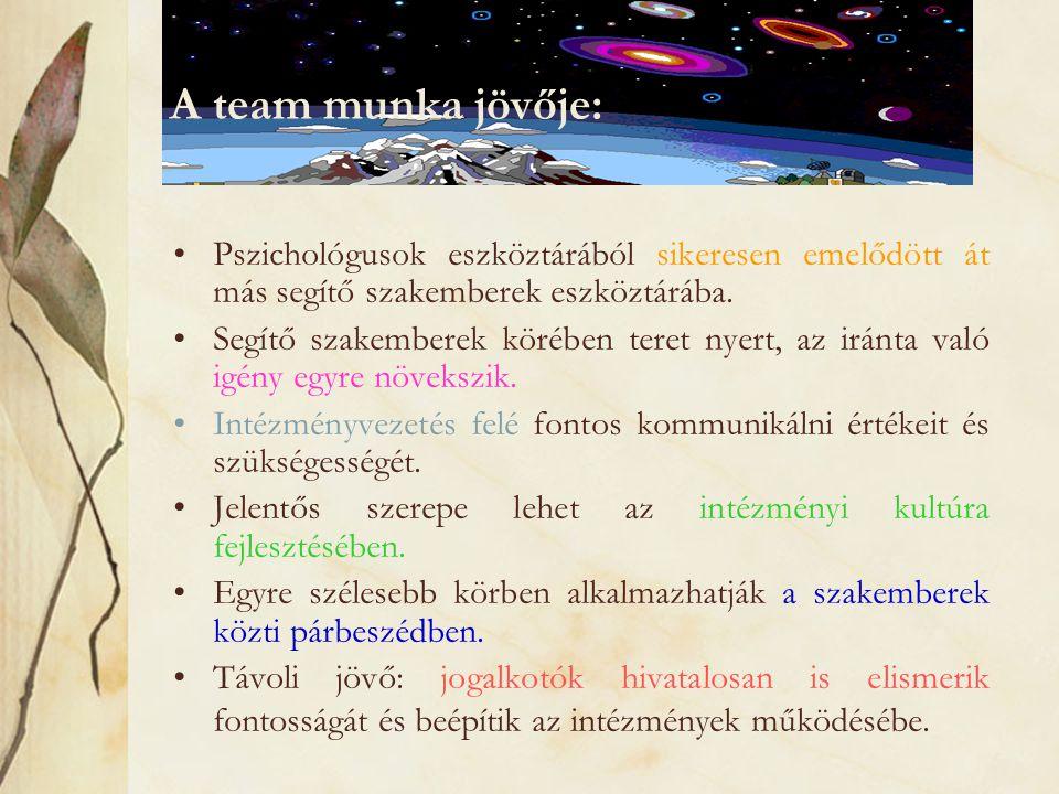 A team munka jövője: Pszichológusok eszköztárából sikeresen emelődött át más segítő szakemberek eszköztárába.