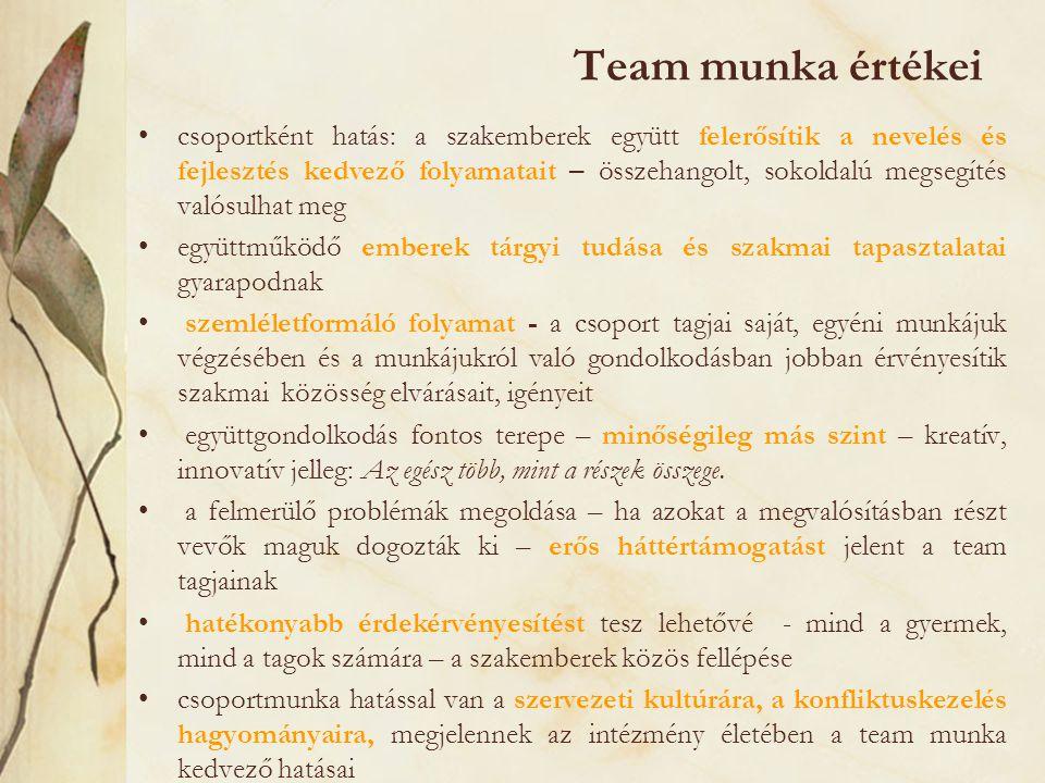 Team munka értékei