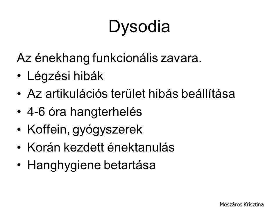 Dysodia Az énekhang funkcionális zavara. Légzési hibák