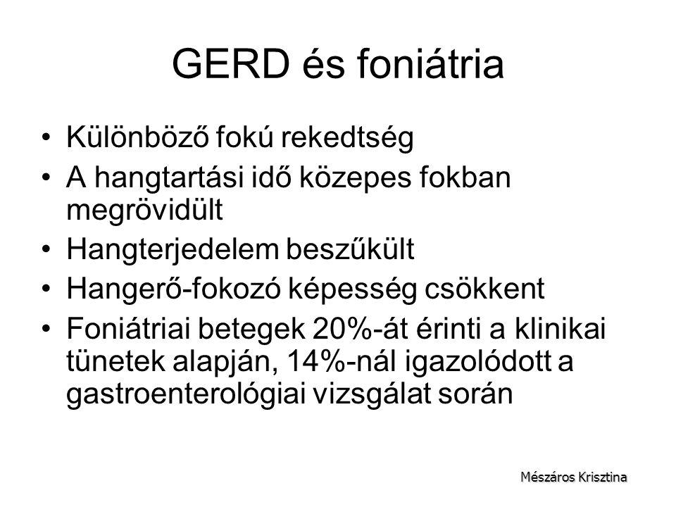 GERD és foniátria Különböző fokú rekedtség
