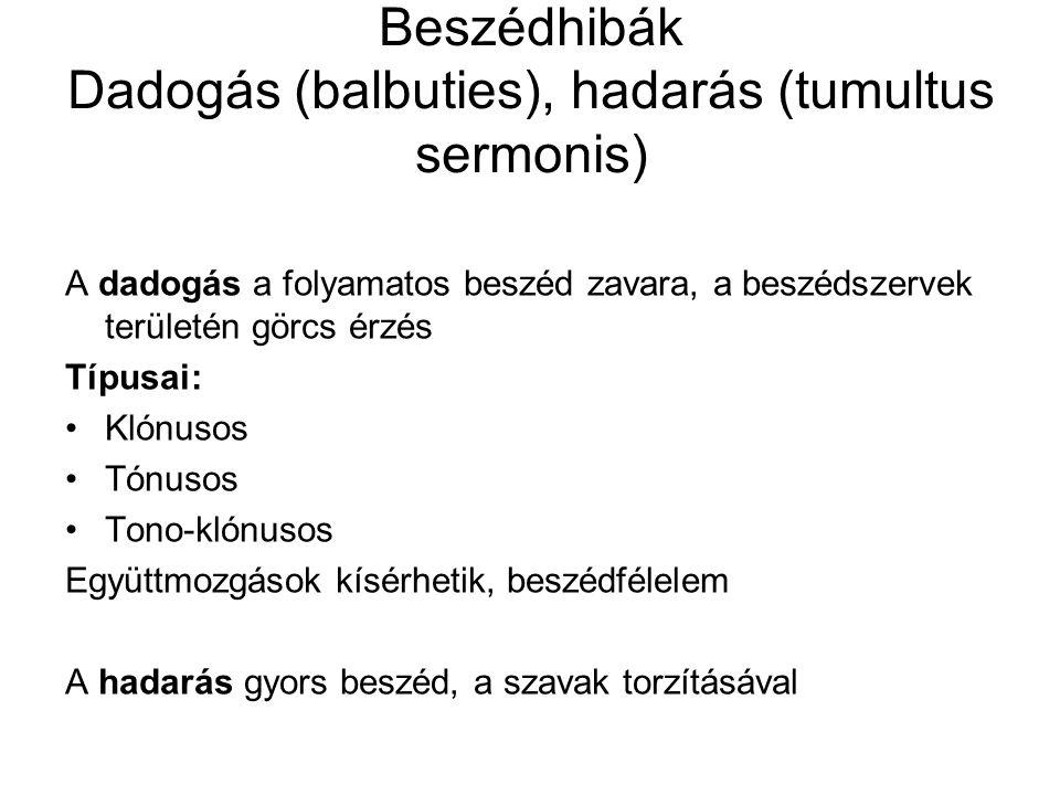Beszédhibák Dadogás (balbuties), hadarás (tumultus sermonis)
