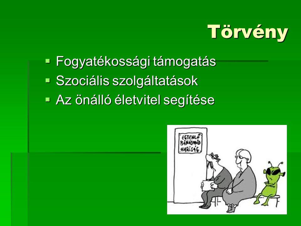 Törvény Fogyatékossági támogatás Szociális szolgáltatások