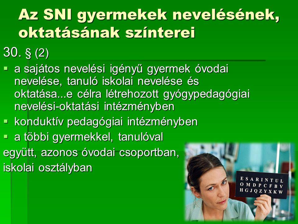 Az SNI gyermekek nevelésének, oktatásának színterei
