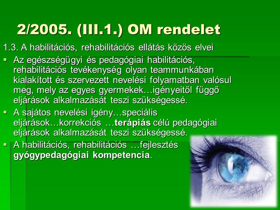 2/2005. (III.1.) OM rendelet 1.3. A habilitációs, rehabilitációs ellátás közös elvei.
