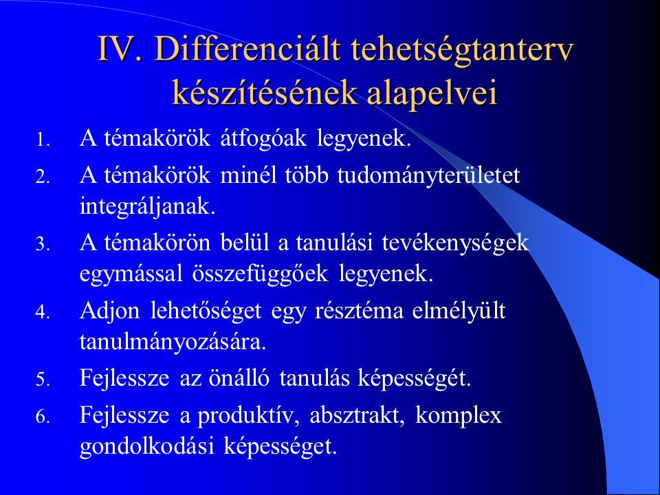 IV. Differenciált tehetségtanterv készítésének alapelvei