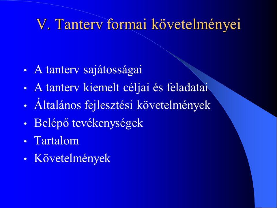 V. Tanterv formai követelményei