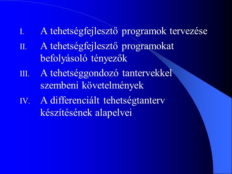 A tehetségfejlesztő programok tervezése