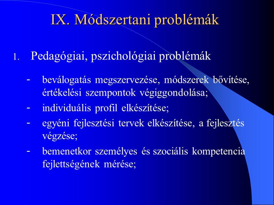 IX. Módszertani problémák