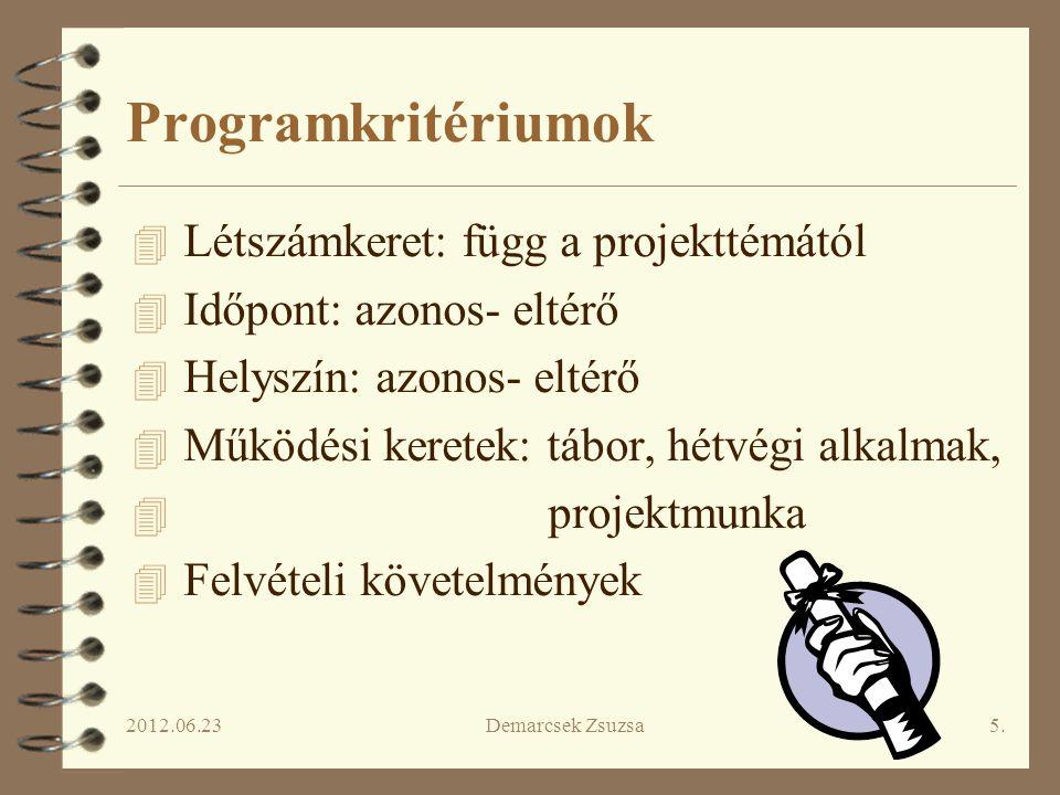 Programkritériumok Létszámkeret: függ a projekttémától