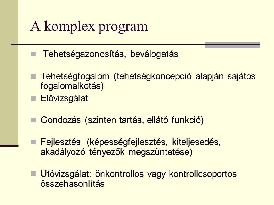 A komplex program Tehetségazonosítás, beválogatás