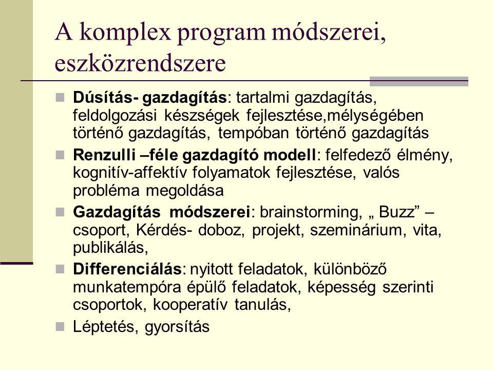 A komplex program módszerei, eszközrendszere