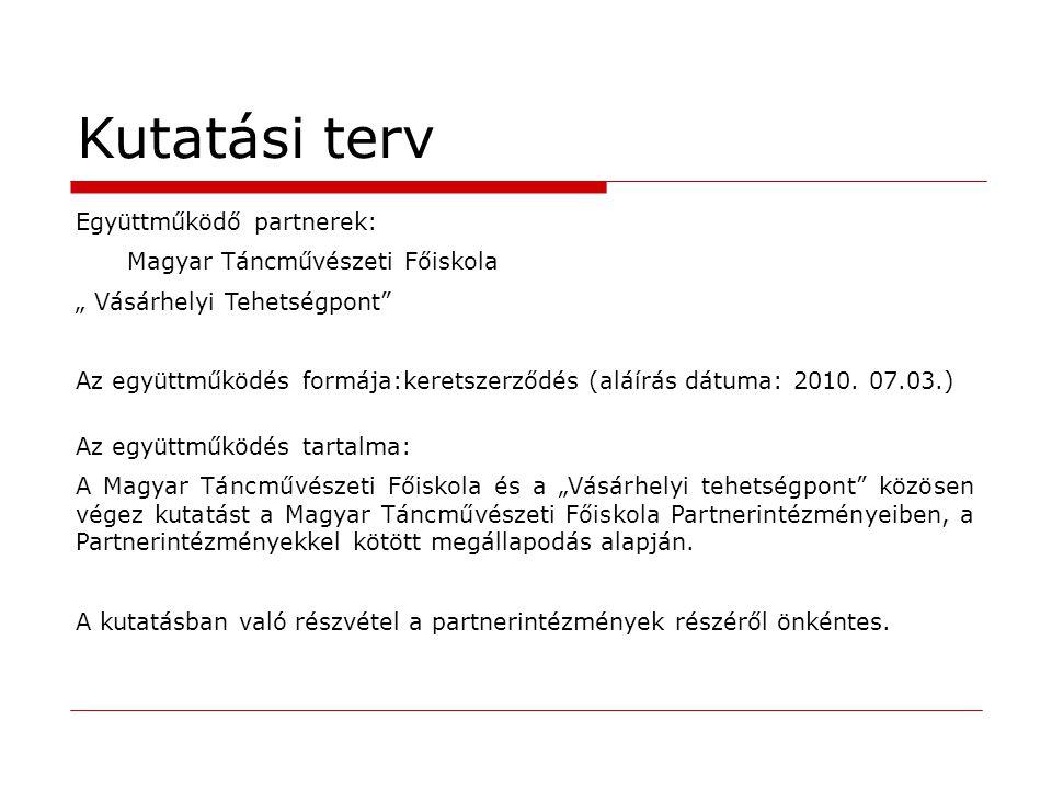 Kutatási terv Együttműködő partnerek: Magyar Táncművészeti Főiskola