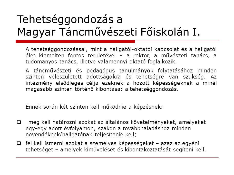 Tehetséggondozás a Magyar Táncművészeti Főiskolán I.