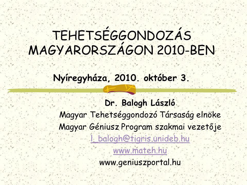 TEHETSÉGGONDOZÁS MAGYARORSZÁGON 2010-BEN Nyíregyháza, 2010. október 3.