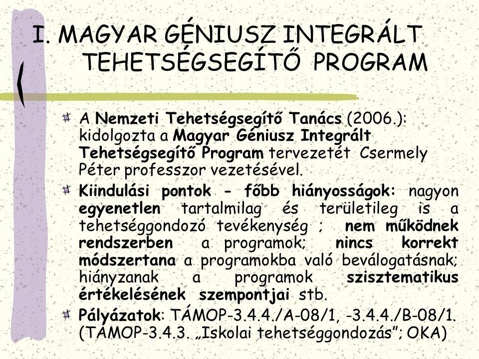 I. MAGYAR GÉNIUSZ INTEGRÁLT TEHETSÉGSEGÍTŐ PROGRAM