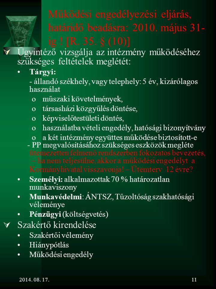 Működési engedélyezési eljárás, határidő beadásra: 2010. május 31-ig