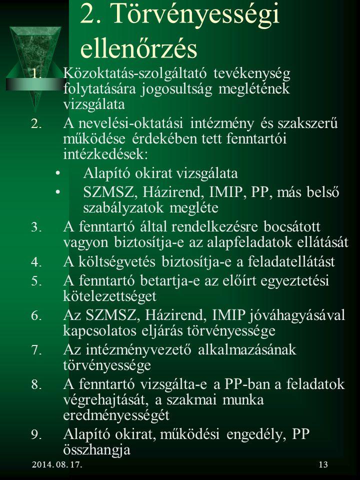 2. Törvényességi ellenőrzés