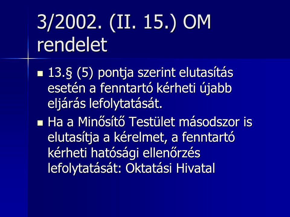3/2002. (II. 15.) OM rendelet 13.§ (5) pontja szerint elutasítás esetén a fenntartó kérheti újabb eljárás lefolytatását.