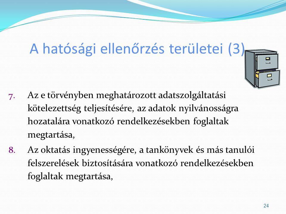 A hatósági ellenőrzés területei (3)
