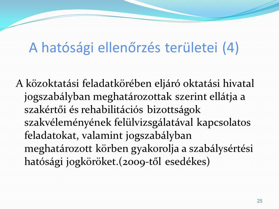 A hatósági ellenőrzés területei (4)