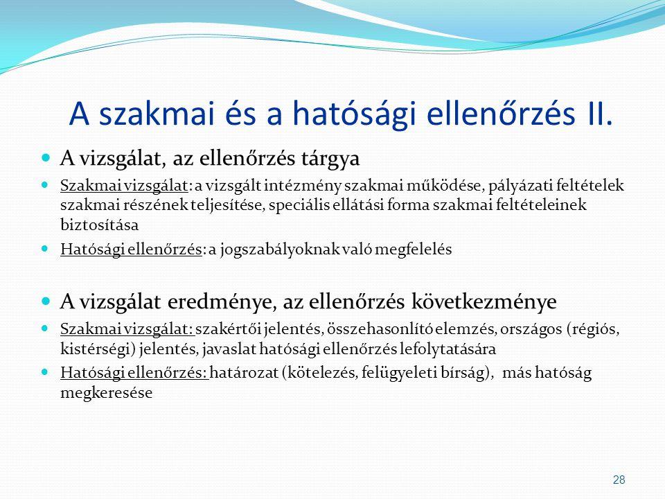 A szakmai és a hatósági ellenőrzés II.