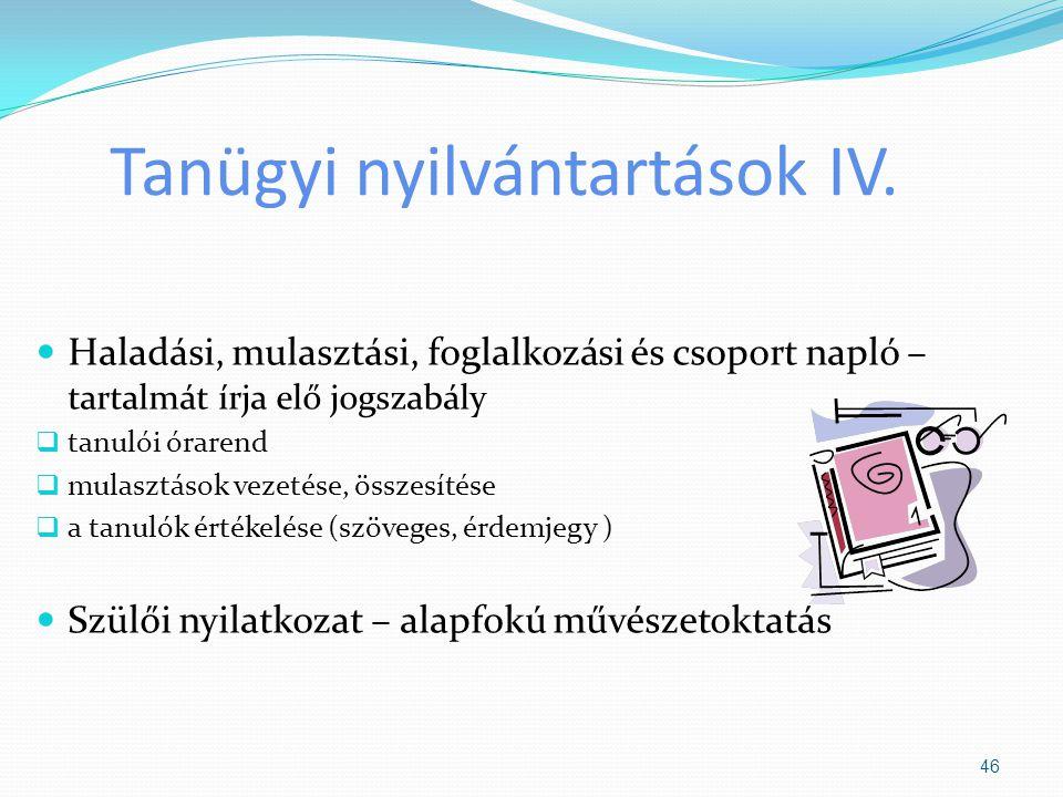 Tanügyi nyilvántartások IV.