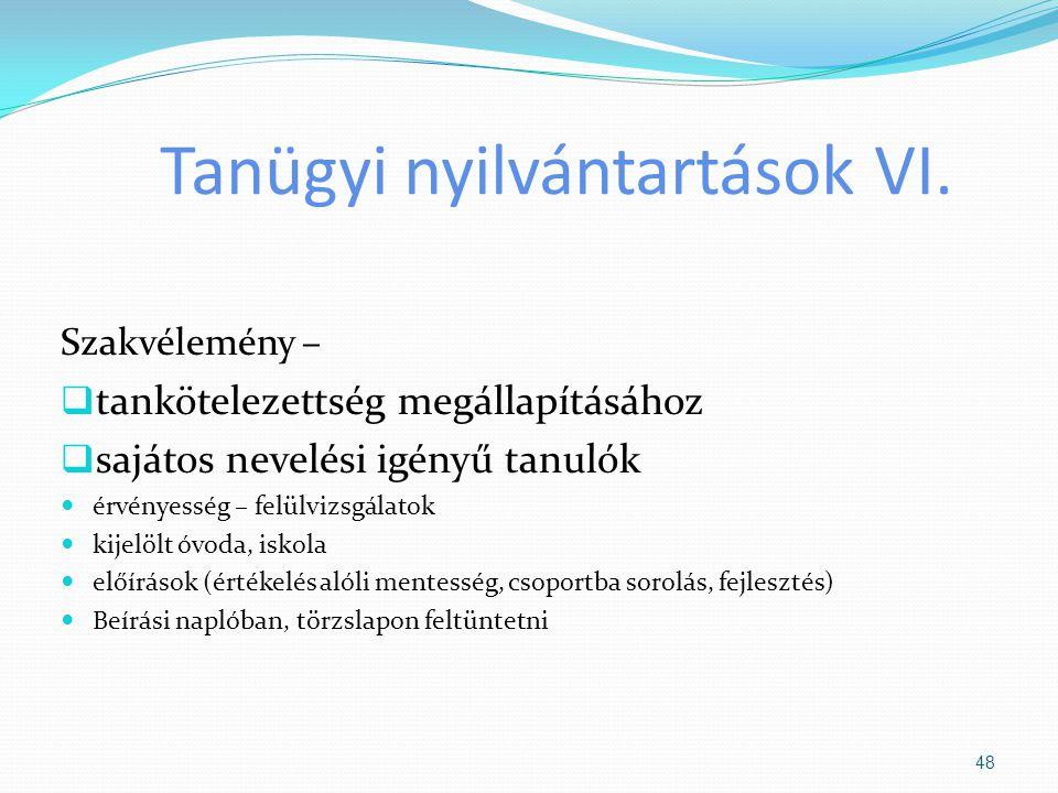 Tanügyi nyilvántartások VI.