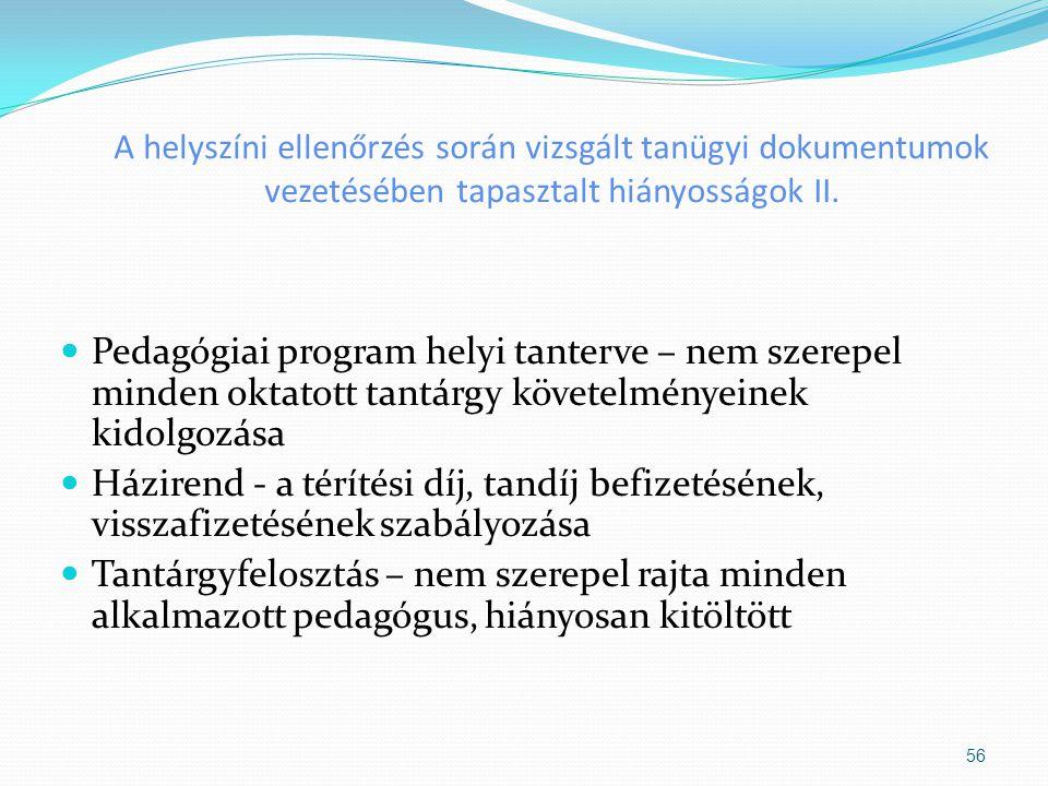 A helyszíni ellenőrzés során vizsgált tanügyi dokumentumok vezetésében tapasztalt hiányosságok II.